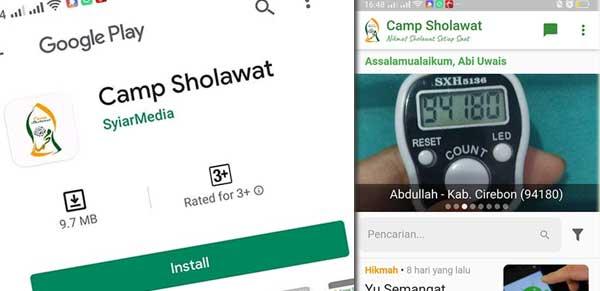 Panduan Instal dan Pengunaan aplikasi Camp Sholawat